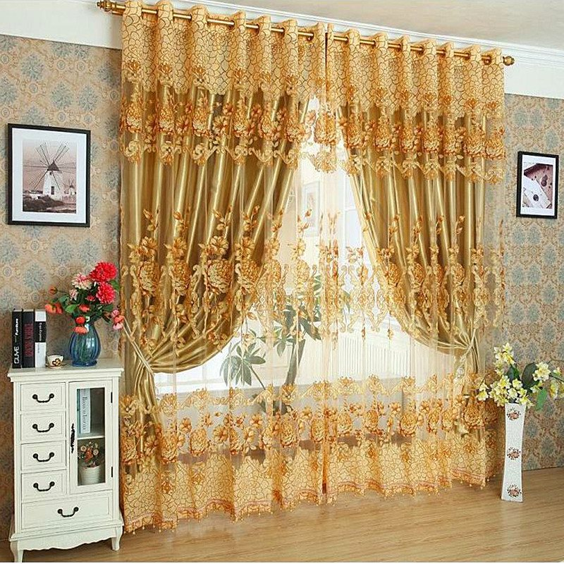 Luxury Golden Classical Style Embroidery Peony Custom Organza Sheer Curtain with Decorative Beads