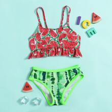 Toddler Girls Watermelon Print Ruffle Bikini Swimsuit