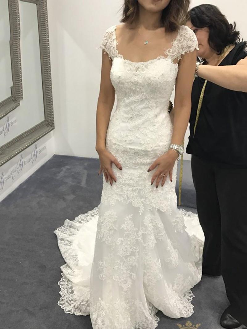 Ericdress Cap Sleeves Appliques Wedding Dress