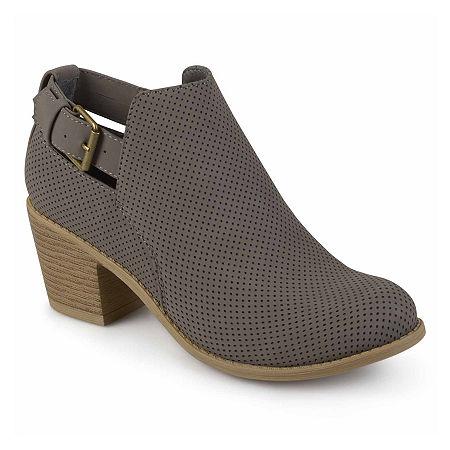 Journee Collection Womens Averi Booties Stacked Heel, 9 Medium, Gray