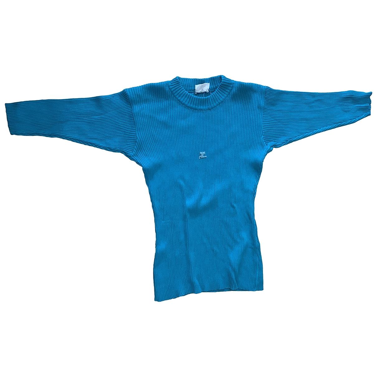 Courreges - Pull   pour femme en coton - turquoise