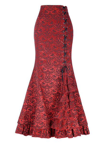 Milanoo Mermaid Maxi Skirt Vintage Rococo Style High Waisted Print Lace Up Layered Long Skirt