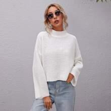 Waffle Knit Bell Sleeve Sweater