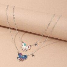 2 Stuecke Kleinkind Maedchen Halskette mit Einhorn Dekor