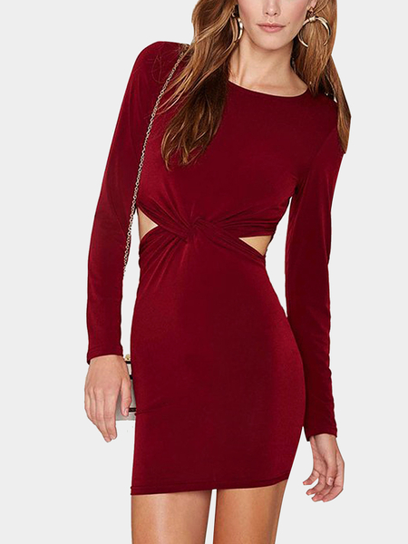 Yoins Knot Front Cutout Party Dress in Burgundy