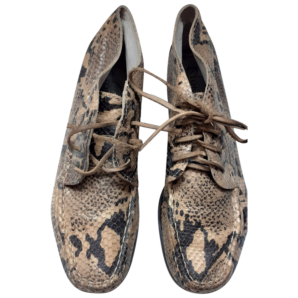 Non Signé / Unsigned N Beige Python Flats for Women 38 IT