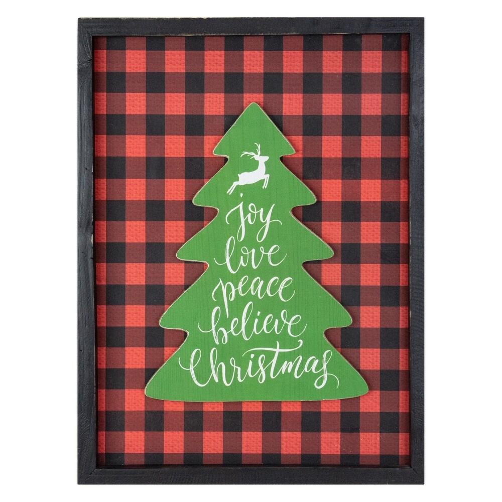 16 Red and Black Buffalo Plaid Christmas Tree Shadow Box Wall Plaque (Black - Wood)