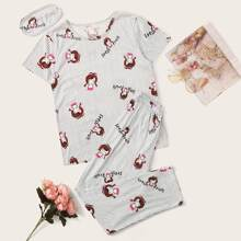 Cartoon Graphic Striped PJ Set With Eye Cover