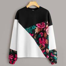 Floral Print Colorblock Pullover
