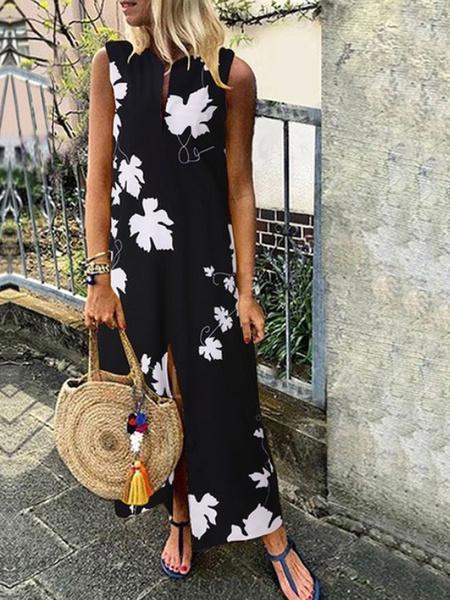 Milanoo Sin mangas de los vestidos maxi Negro Impreso cuello de la joya hombro abierto de Split largo vestido de poliester