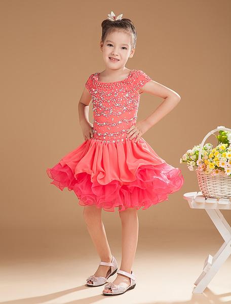 Milanoo Vestido para las niñas de flores de color sandia con escote cuadrado