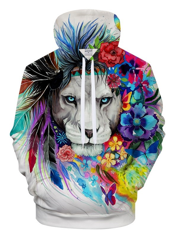 Novelty 3D Animal Print Pullover Soft Hoodies Pullover Hooded Sweatshirts