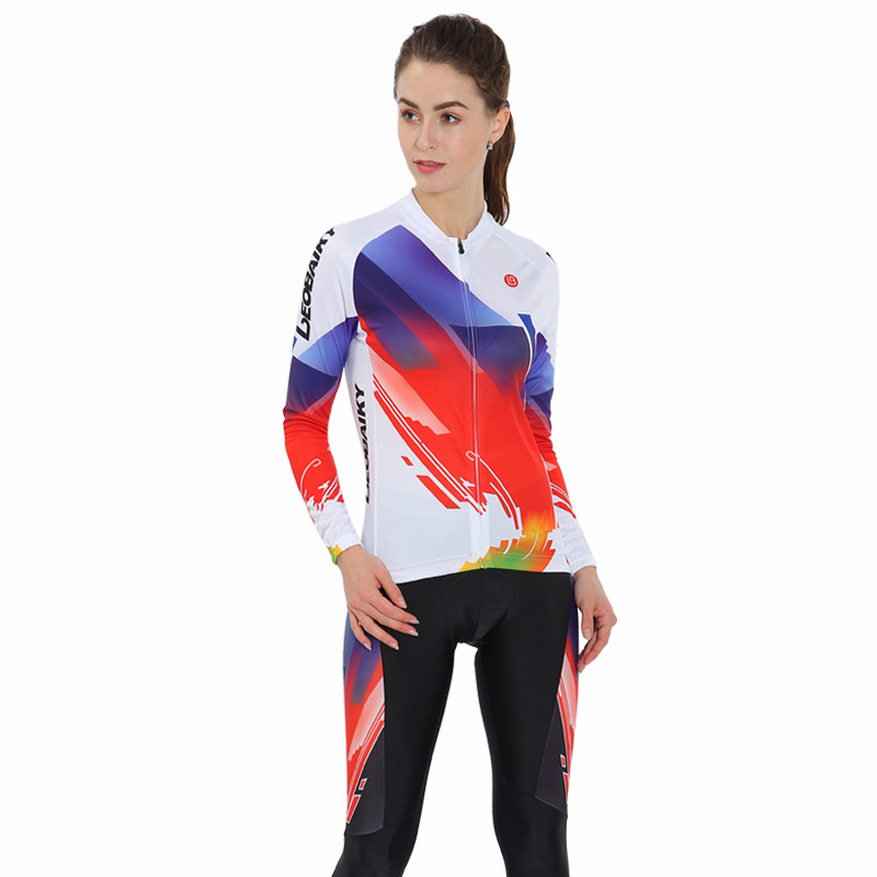 Color Sky 3D Padded Pants Road Bike Comfortable Women's Cycling Jersey
