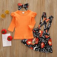 Toddler Girls Solid Tee & Halloween Print Suspender Skirt & Headband