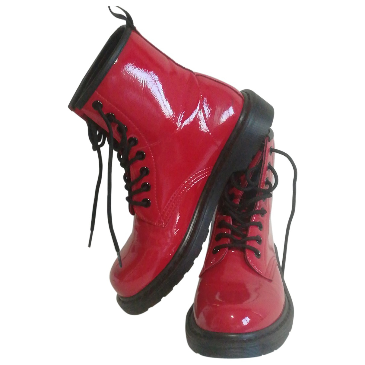Non Signe / Unsigned \N Stiefeletten in  Rot Polyester