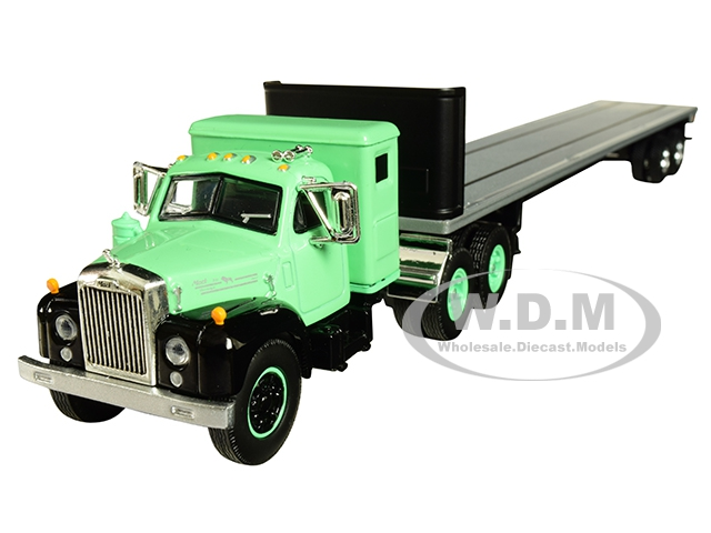 Mack B-61 with Sleeper Cab and 48 Flatbed Trailer Antique Green 1/64 Diecast Model by DCP/First Gear