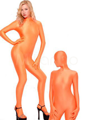 Milanoo Halloween Morph Suit Orange Lycra Spandex Catsuit