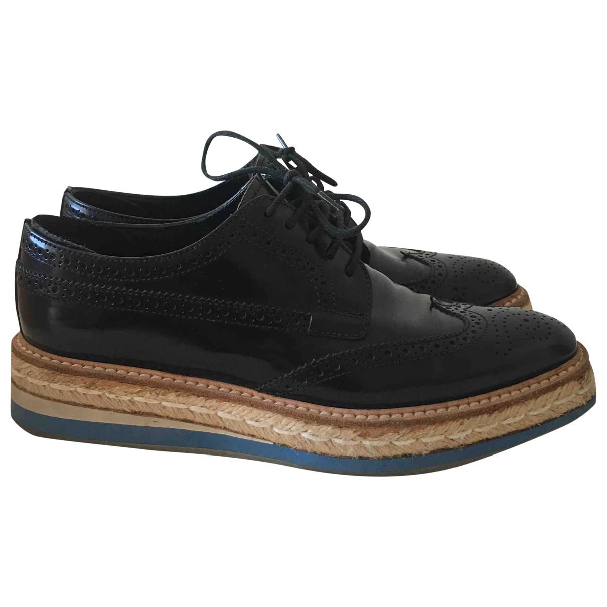 Prada \N Black Leather Lace ups for Women 37.5 EU