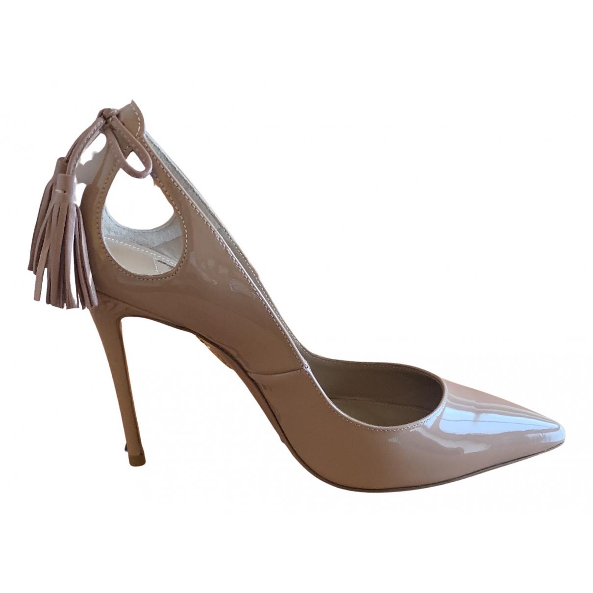 Aquazzura - Escarpins   pour femme en cuir verni - beige