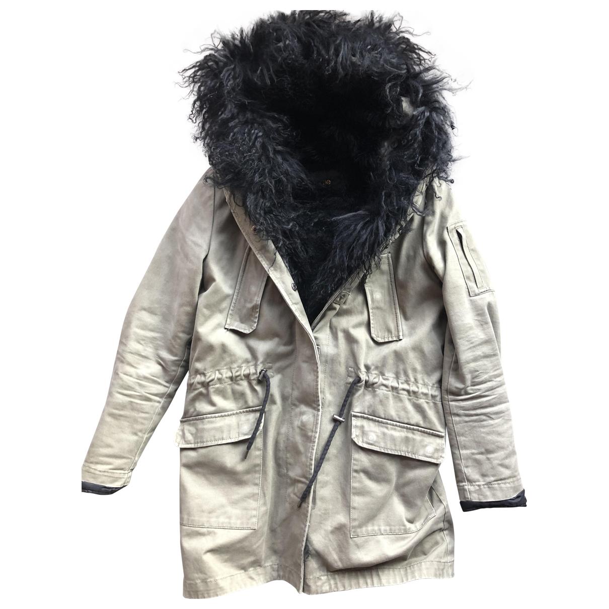 Maje \N Khaki Cotton coat for Women 36 FR