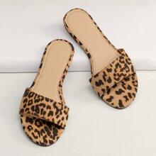 Leopard Open Toe Flat Slide Sandals