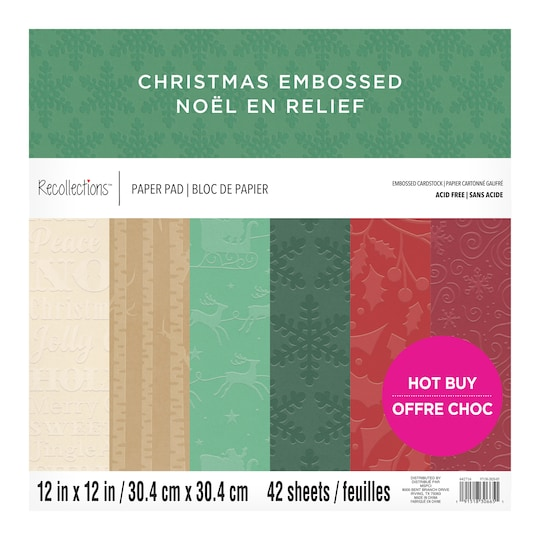 Christmas Embossed Textured Cardstock Paper Pad By Recollections™, 12 X 12 | Michaels®