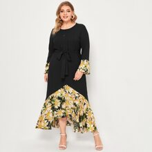 Plus Contrast Floral Ruffle Hem Self Tie Dress