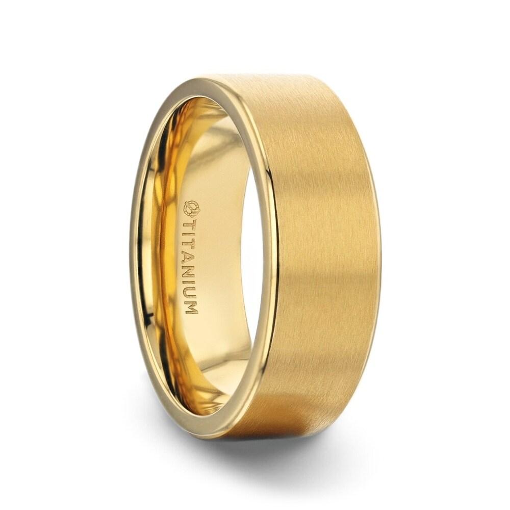 Aureliano Yellow Gold Plating Titanium Men's Wedding Band With Flat Brushed Finish Center And Rounded Polished Edges - 8mm (13)