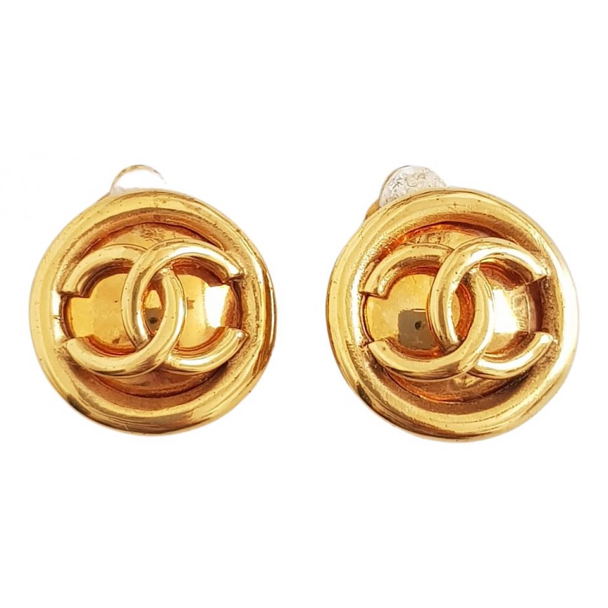 Chanel - Boucles d'oreilles CC pour femme en metal - dore