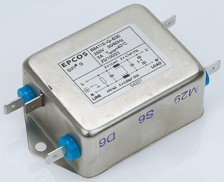 EPCOS , B84112G 10A 250 V ac 50 → 60Hz, Chassis Mount RFI Filter, Screw, Single Phase