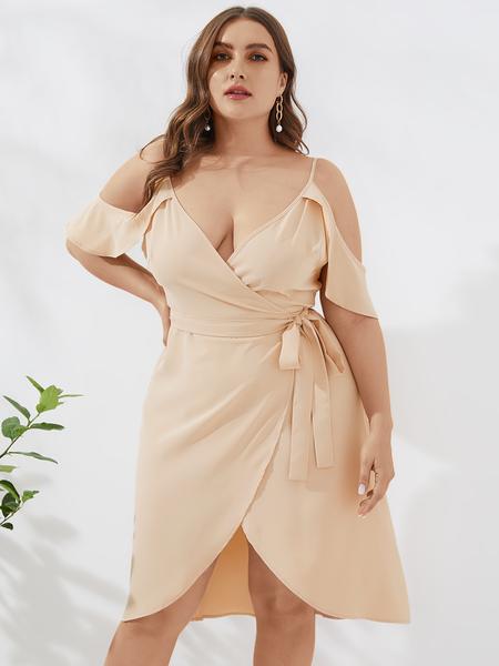 YOINS Plus Size Belt Design Cold Shoulder Half Sleeves Dress