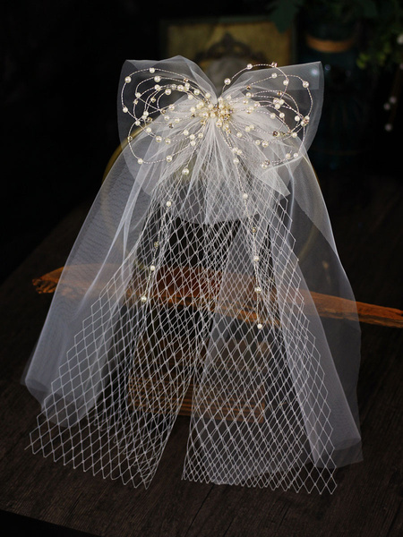 Milanoo Velo de novia Perlas de un nivel Corte de poliester Velo de novia ovalado