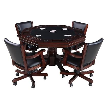 NG2366 Kingston Walnut 3-in-1 Poker Table with 4 Chairs in