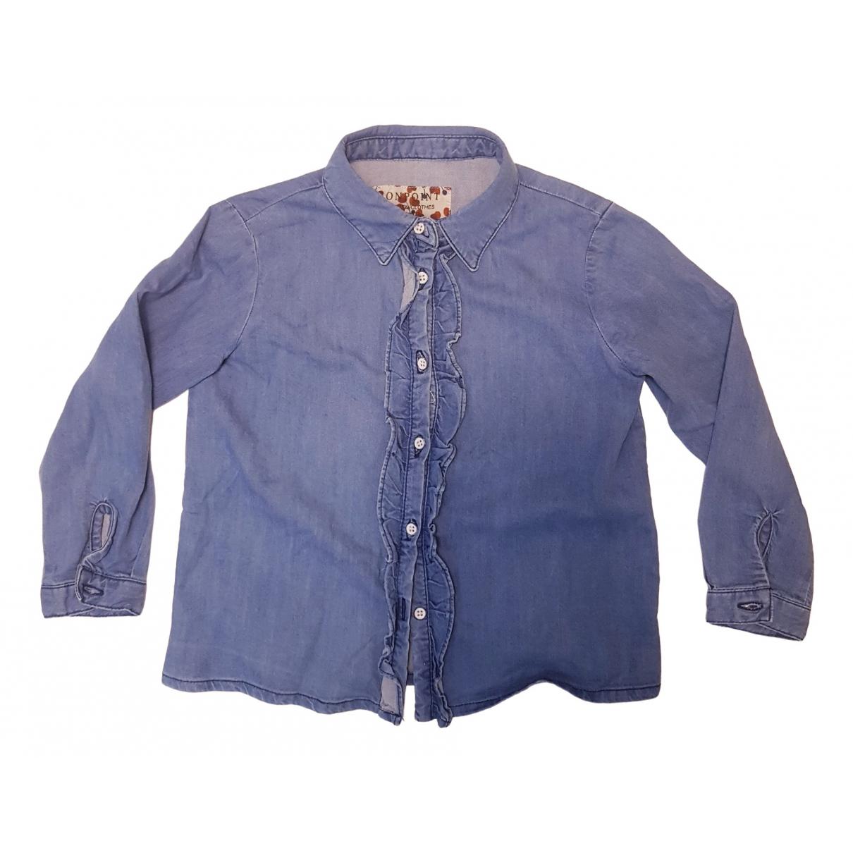 Bonpoint - Top   pour enfant en denim - bleu