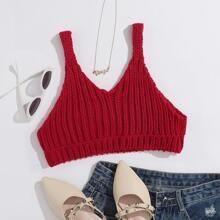 Solid Crop Cami Knit Top