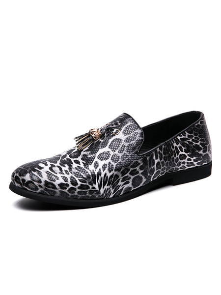 Milanoo Men\'s Loafer Shoes Slip-On Artwork Round Toe PU Leather Leopard Mens Loafer Shoes