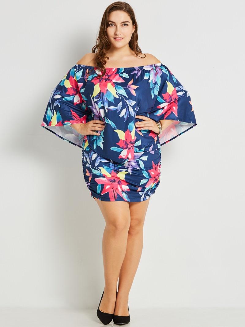 Ericdress Plus Size Off Shoulder Above Knee Floral Print Bodycon Dress