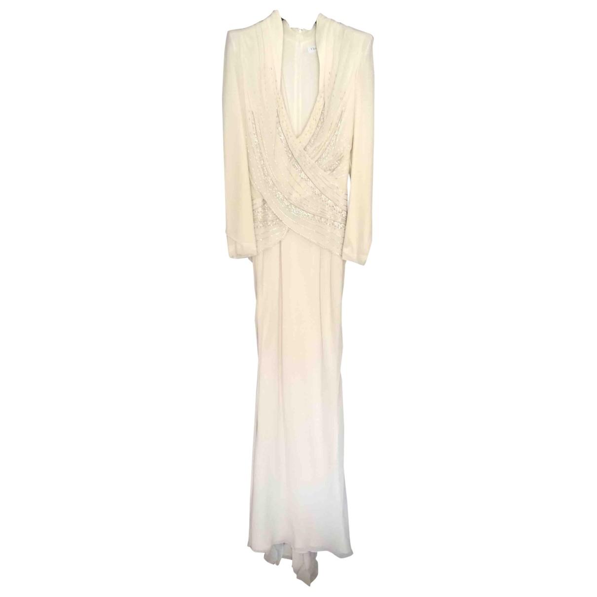 Christian Dior \N Ecru Silk dress for Women 38 FR