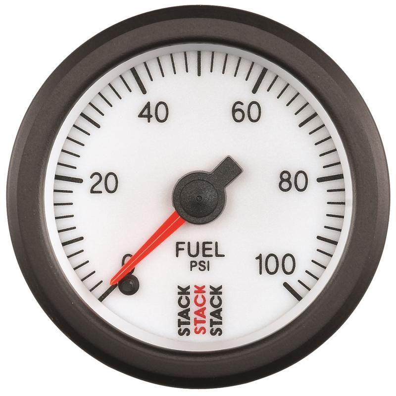 AutoMeter GAUGE; FUEL PRESS; PRO STEPPER MOTOR; 52MM; WHT; 0-100PSI; 1/8in. NPTF MALE