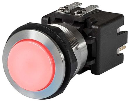 Schurter Double Pole Double Throw (DPDT) Latching Red LED Push Button Switch, IP64 (Front); IP00 (Rear), 19 (Dia.)mm,
