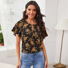 Tie Neck Butterfly Sleeve Floral Top