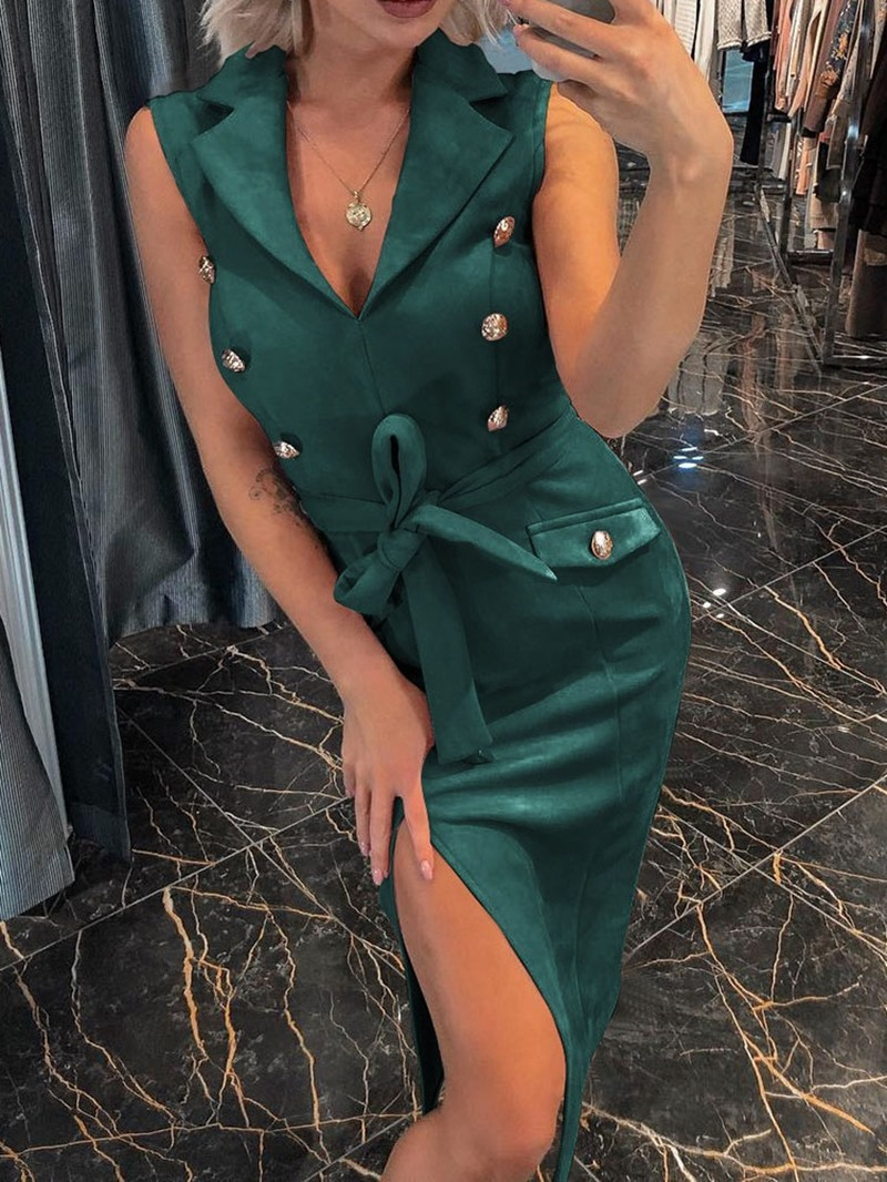 Ericdress Notched Lapel Split Sleeveless Pullover OL Mid Waist Dress