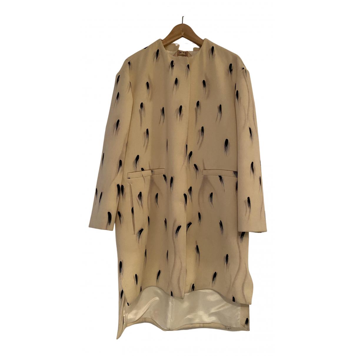N°21 - Manteau   pour femme en laine - ecru