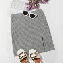 Split Hem Rib-knit Skirt