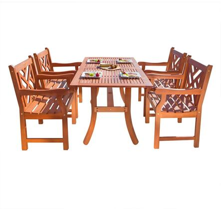 V187SET2Outdoor Malibu Serie 5-Piece Wood Patio Dining Set with 1x V189 Table + 4x V187 Chairs  Multi-Resistant  Umbrella Hole and Made from