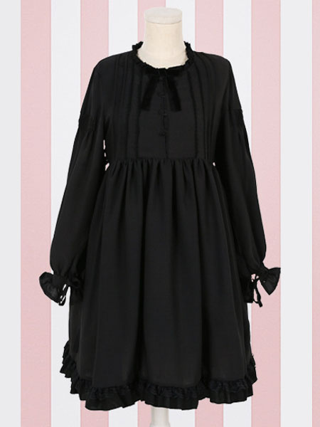 Milanoo Classic Lolita OP Dress Ruffle Bow Pleated Chiffon Lolita One Piece Dress
