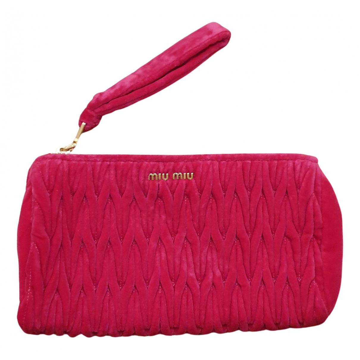 Miu Miu - Pochette   pour femme en velours - rose