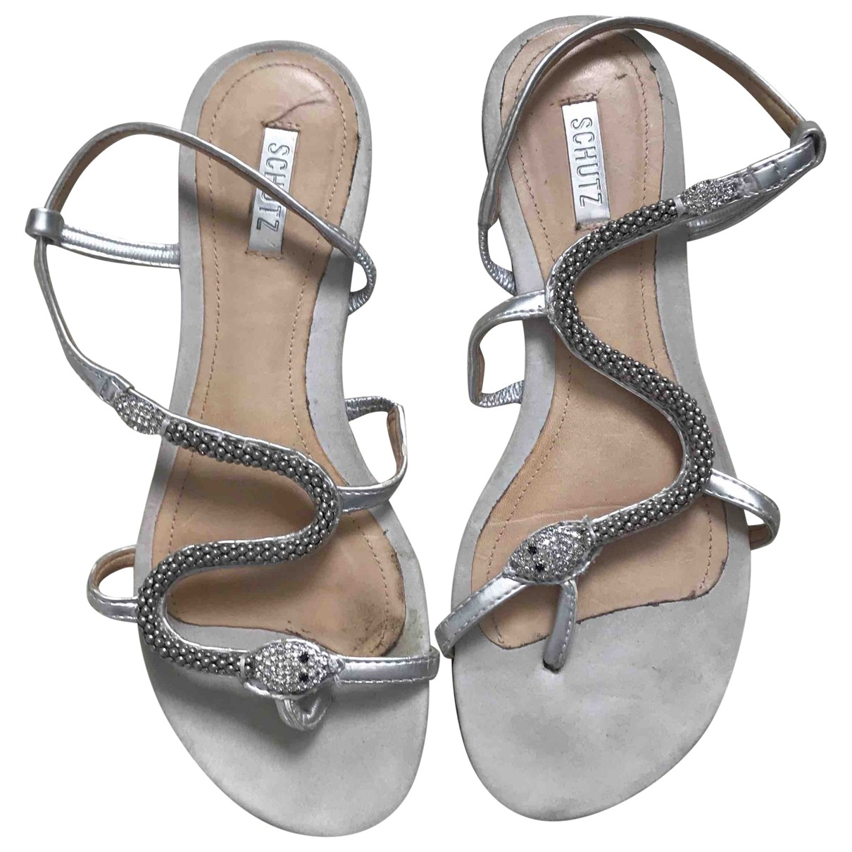 Schutz - Sandales   pour femme en cuir - argente