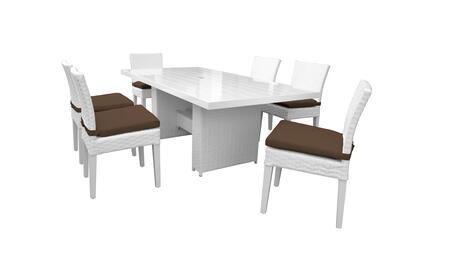 Miami MIAMI-DTREC-KIT-6C-COCOA 7-Piece Patio Dining Set with Rectangular Dining Table and 6 Armless Chairs - Sail White and Cocoa