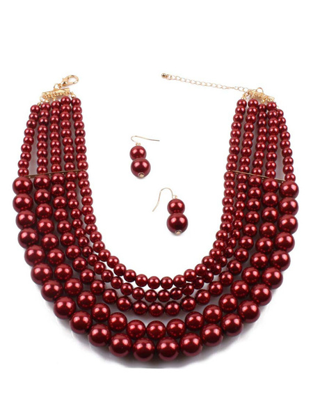 Milanoo Necklaces Burgundy Layered Choker Necklaces Women Jewelry